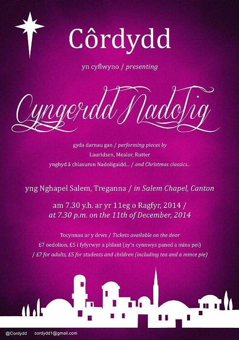 Poster Cyngerdd Rhagfyr 2014